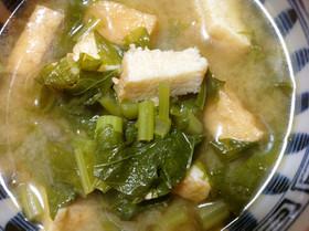 大根菜と冷凍厚揚げのお味噌汁