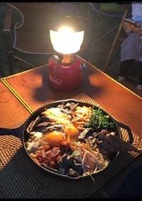 スキレットでビビンパ◆キャンプ飯◆