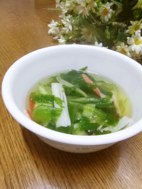 レタスの外葉とカニかまのスープ