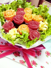 母の日に♡バラのお寿司ブーケ♡の写真