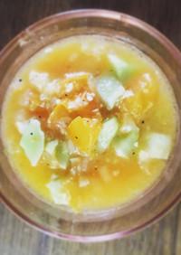 きゅうりと黄色トマトのスープサラダ