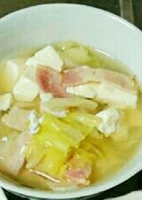 卵とキャベツの中華風スープ