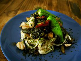 【糖質0麺】野沢菜と豚肉のペペロンチーノ