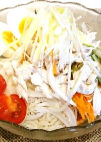 ビーフンでささみ・野菜たっぷり冷やし中華