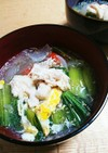 サラダチキンのっけ春雨さっぱりスープ