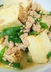 焼き豆腐とニラのひく肉あんかけ