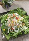 新玉ねぎと水菜と竹輪のさっぱりサラダ♡