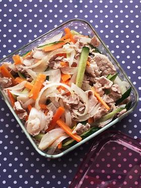 豚コマで☆さっぱり作り置きサラダ