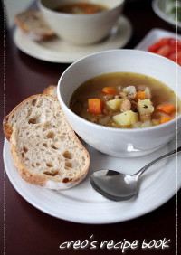 staub使用*チョリソーと野菜のスープ