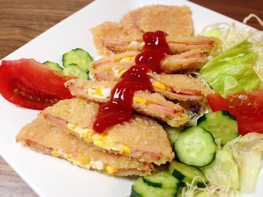 お弁当に♪簡単♡揚げない卵サンドハムカツ