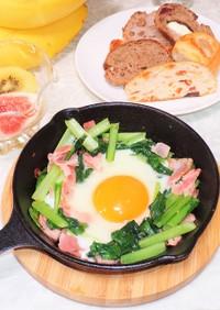 ニトスキ余熱料理 ほうれん草の半熟卵かけ