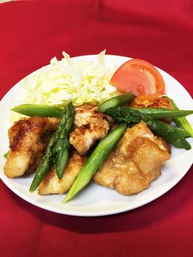 アスパラガスと鶏胸肉の生姜醤油炒め