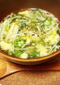 簡単ふわとろ♡オクラとめかぶの和風スープ