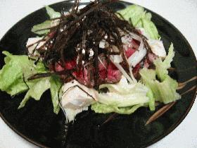 牛たたきのマリネ豆腐サラダ