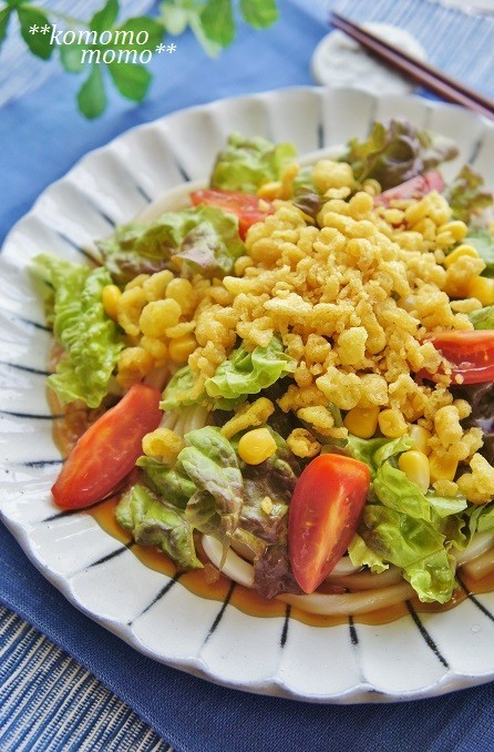 冷凍うどんで簡単◆たぬきサラダうどん◆