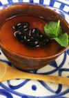 白胡麻のとろけるプリン黒豆と黒みつソース