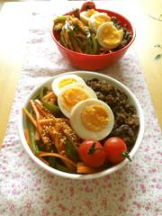 野菜たっぷり!ヘルシー♡ビビンバ弁当の写真