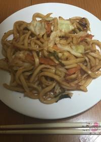 カット野菜☆焼きうどん〜キムチ味噌〜