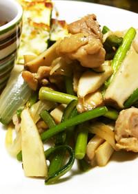 ニンニクの芽と鶏とエリンギの炒め物