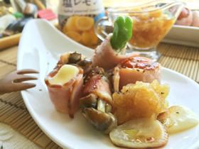 季節野菜ベーコン串焼✿塩レモンおろし添え