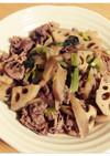 根菜とこま肉のしぐれ煮風炒め