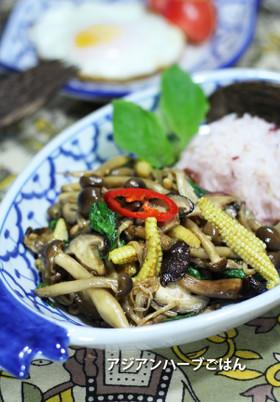 茸とヤングコーンの肉なしガパオライス