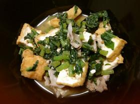 豚肉と大根菜と厚揚げの味噌炒め煮