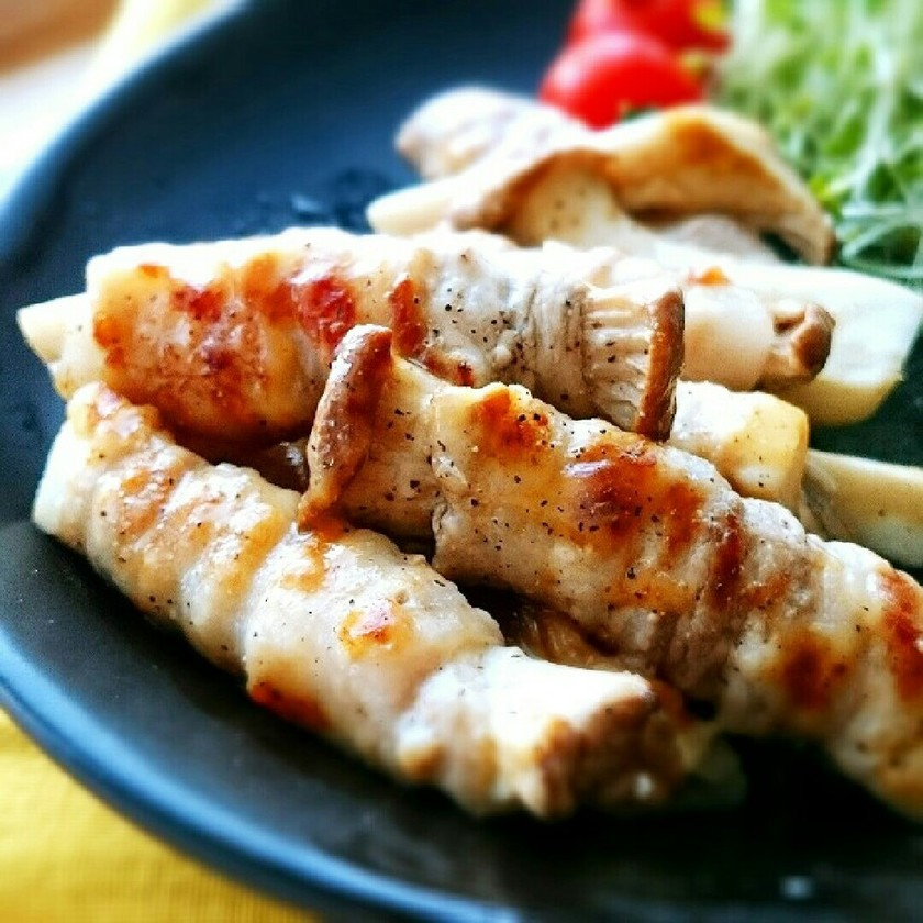 エリンギ×豚バラのカリカリチーズ焼き✾