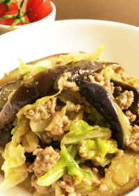 茄子とキャベツの豚挽肉炒め*お弁当にも♬