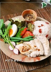 和カフェ✿梅干しで炊く海南鶏飯スタイル