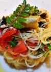 鮎とトマトの冷製パスタ、山椒風味