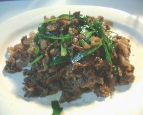 牛肉とにらの生姜焼き