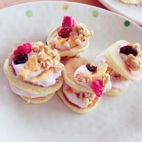 ミニパンケーキヨーグルトサンド♡
