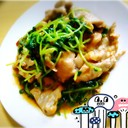 豆苗と豚肉のにんにく醤油炒め