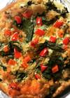 春菊と挽肉(と酒粕)のピザ