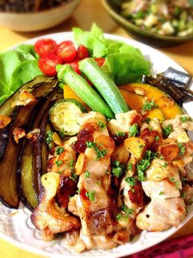 簡単!鶏もも肉と夏野菜のアヒージョ