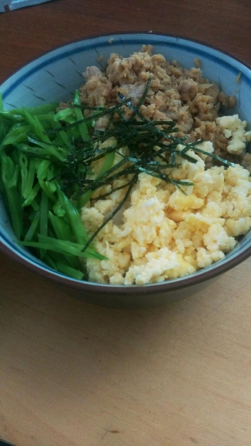 高野豆腐のかさ増し三色丼