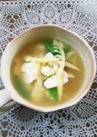はちく筍・キヌサヤの崩し豆腐スープ♪
