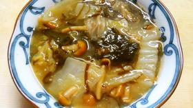 簡単♪白菜となめこ もずくの味噌中華煮!