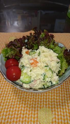 高野豆腐の粉入りポテトサラダ