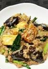 茄子、厚揚げ、小松菜の肉味噌あんかけ