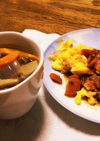 簡単!残り物で夕ご飯。オムレツとスープ