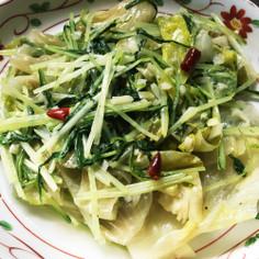 レタスと水菜のニンニク炒め