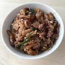 簡単で豪華♡山菜と豚バラの雑穀米おこわ