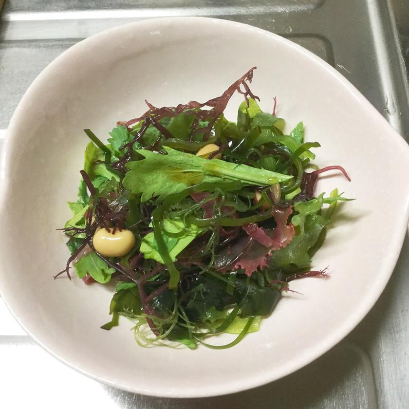 認知症予防・春菊と海藻と大豆のサラダ