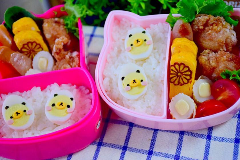 幼稚園 お弁当♡うずらの卵でクマ パンダ