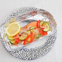 紅鮭と夏野菜のホイル焼き