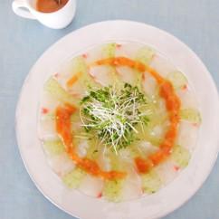 白身魚とこんにゃくのお刺身サラダ 梅肉みそドレッシング