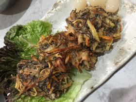 夏野菜で もずくの天ぷら