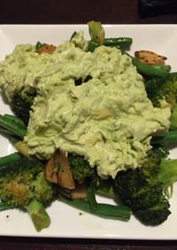 緑野菜のソテー♪アボカドタルタルを添えて